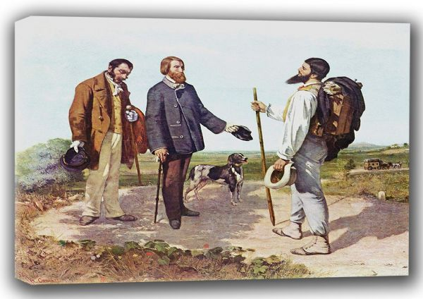 Courbet, Gustave: The Meeting (La Rencontre, or Bonjour Monsieur Courbet), 1854. Fine Art Canvas. Sizes: A3/A2/A1 (001046)